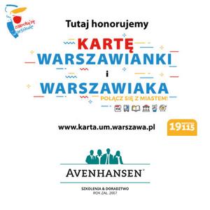 """Firma AVENHANSEN Sp. z o.o. - tu honorujemy """"KARTĘ WARSZAWIAKA"""" i """"KARTĘ MŁODEGO WARSZAWIAKA"""